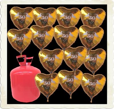 Dekoration Goldene Hochzeit, 20 Herzballons 50 Gold mit Helium Einweg 2,2 Liter