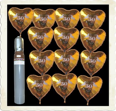 Dekoration Goldene Hochzeit Ballons Helium Sets mit Herzballons 50 Gold