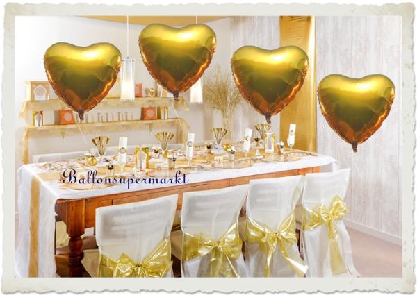 Dekoration Goldene Hochzeit mit großen goldenen Herzluftballons aus Folie mit Ballongas Helium