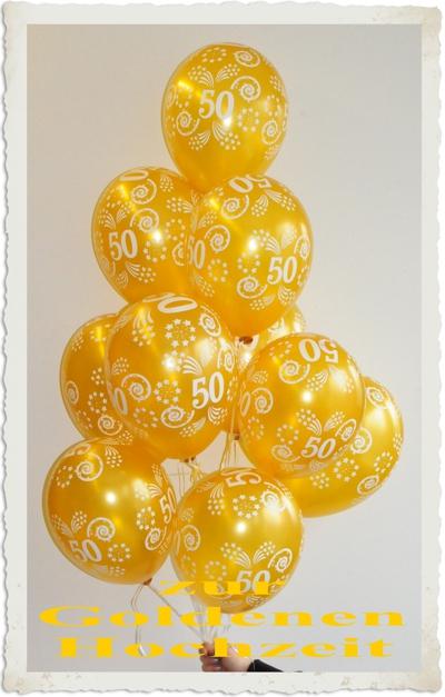 Dekoration Heliumballons zur Goldenen Hochzeit