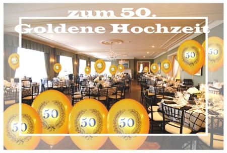 Festdekoration Goldene Hochzeit, Heliumballons Zahl 50 im Lorbeerkranz