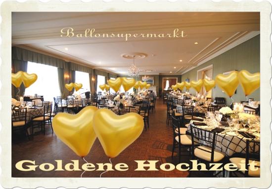 Goldene Hochzeit Festsaaldekoration mit Goldenen Herzluftballons mit Helium