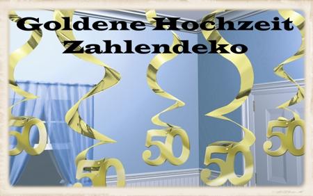 Goldene Hochzeit Zahlendekoration, Zahl 50 Gold, Deko-Wirbler
