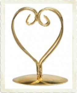Tischkartenhalter Gold, Herz, Tischdekoration Goldene Hochzeit