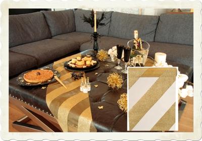 Tischläufer in Gold Streifen, Tischdekoration Goldene Hochzeit