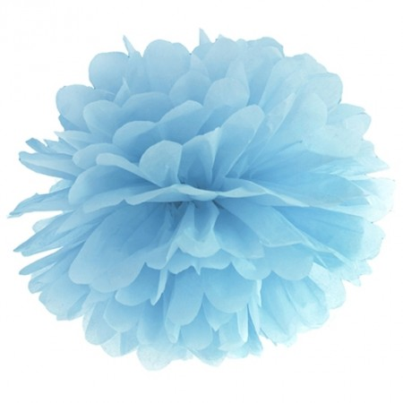 Pompom-Dekoration-Hellblau